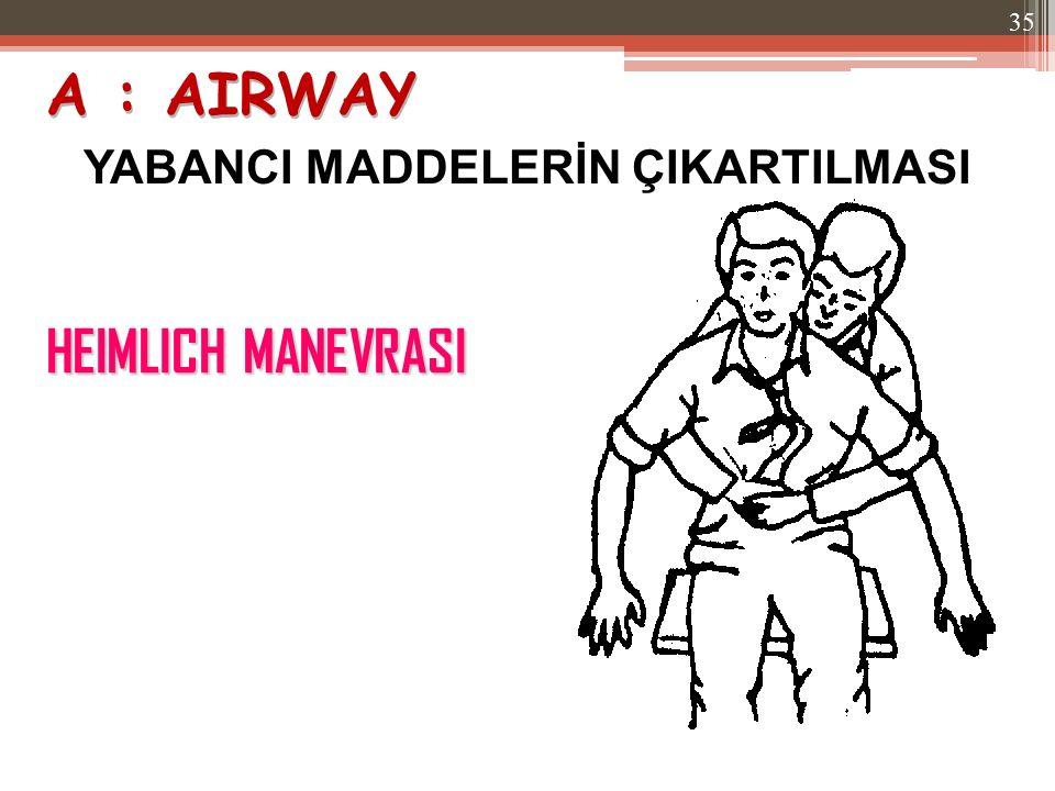 HEIMLICH MANEVRASI YABANCI MADDELERİN ÇIKARTILMASI A : AIRWAY 35