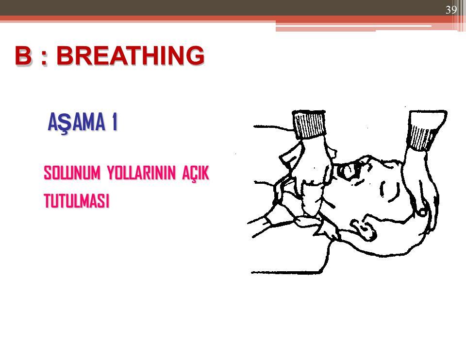 A Ş AMA 1 B : B : BREATHING SOLUNUM YOLLARININ AÇIK TUTULMASI 39