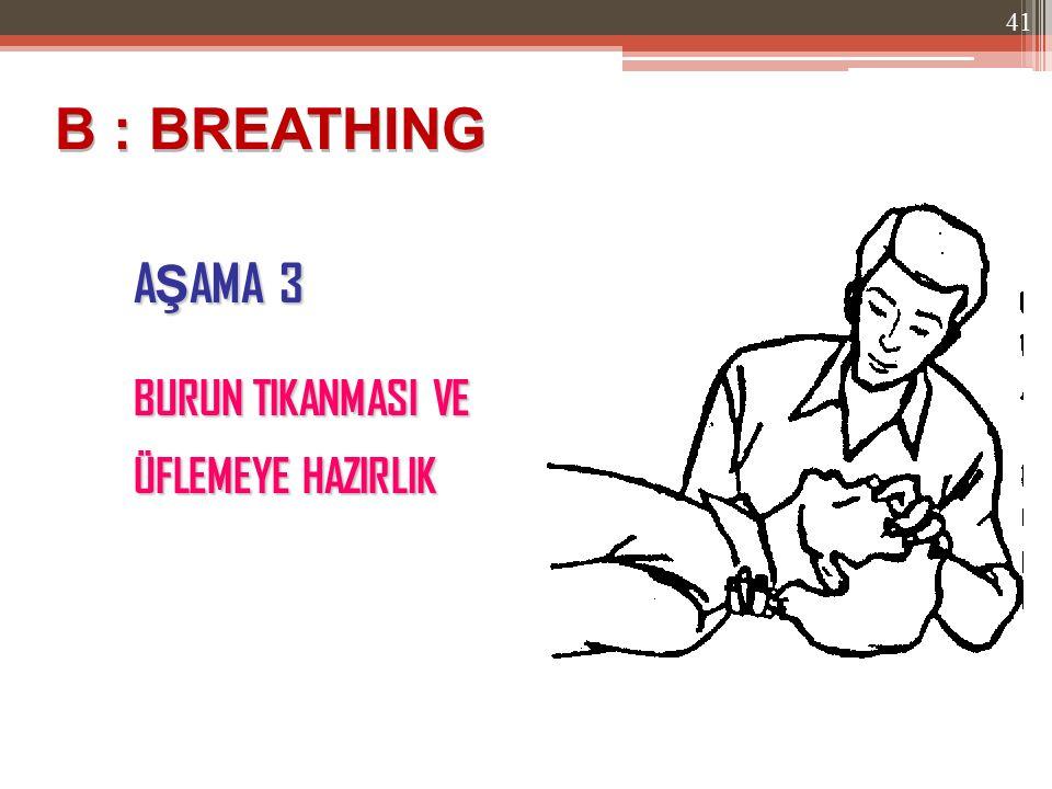 A Ş AMA 3 B : BREATHING BURUN TIKANMASI VE ÜFLEMEYE HAZIRLIK 41