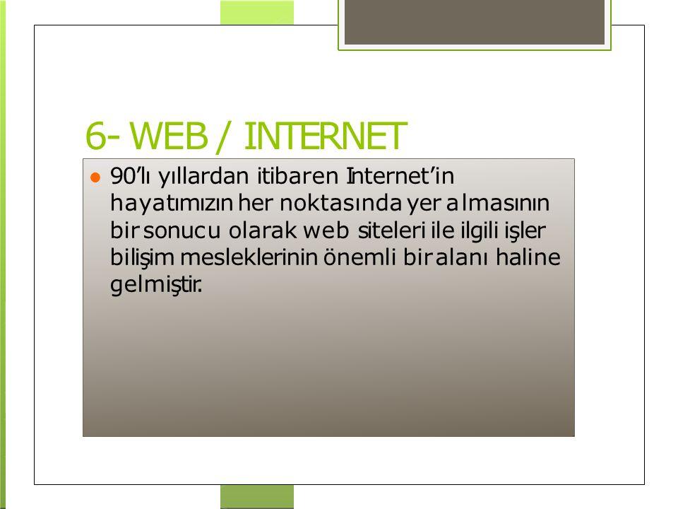 6- WEB / INTERNET 90'lı yıllardan itibaren Internet'in hayatımızın her noktasında yer almasının bir sonucu olarak web siteleri ile ilgili işler bilişi