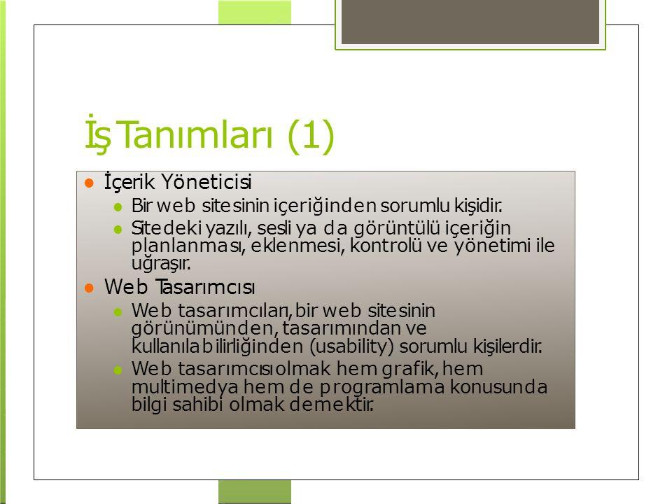 İş Tanımları (1) İçerik Yöneticisi Bir web sitesinin içeriğinden sorumlu kişidir. Sitedeki yazılı, sesli ya da görüntülü içeriğin planlanması, eklenme
