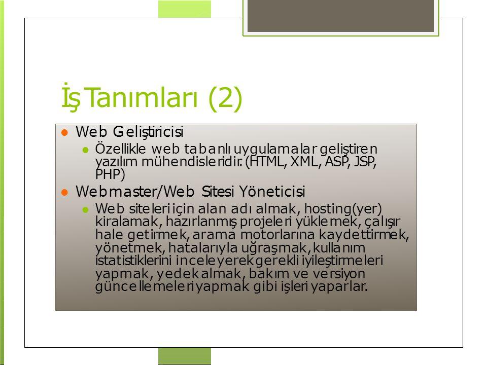 İş Tanımları (2) Web Geliştiricisi Özellikle web tabanlı uygulamalar geliştiren yazılım mühendisleridir. (HTML, XML, ASP, JSP, PHP) Webmaster/Web Site