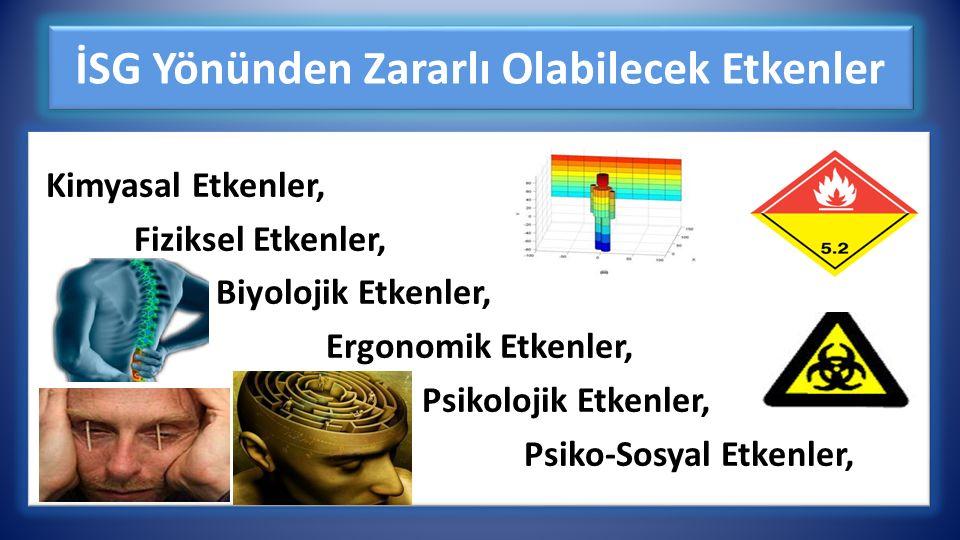 İSG Yönünden Zararlı Olabilecek Etkenler Kimyasal Etkenler, Fiziksel Etkenler, Biyolojik Etkenler, Ergonomik Etkenler, Psikolojik Etkenler, Psiko-Sosyal Etkenler, Kimyasal Etkenler, Fiziksel Etkenler, Biyolojik Etkenler, Ergonomik Etkenler, Psikolojik Etkenler, Psiko-Sosyal Etkenler,