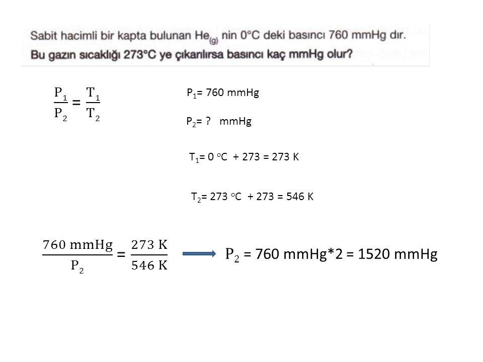 P 1 = 760 mmHg P 2 = ? mmHg T 1 = 0 o C + 273 = 273 K T 2 = 273 o C + 273 = 546 K