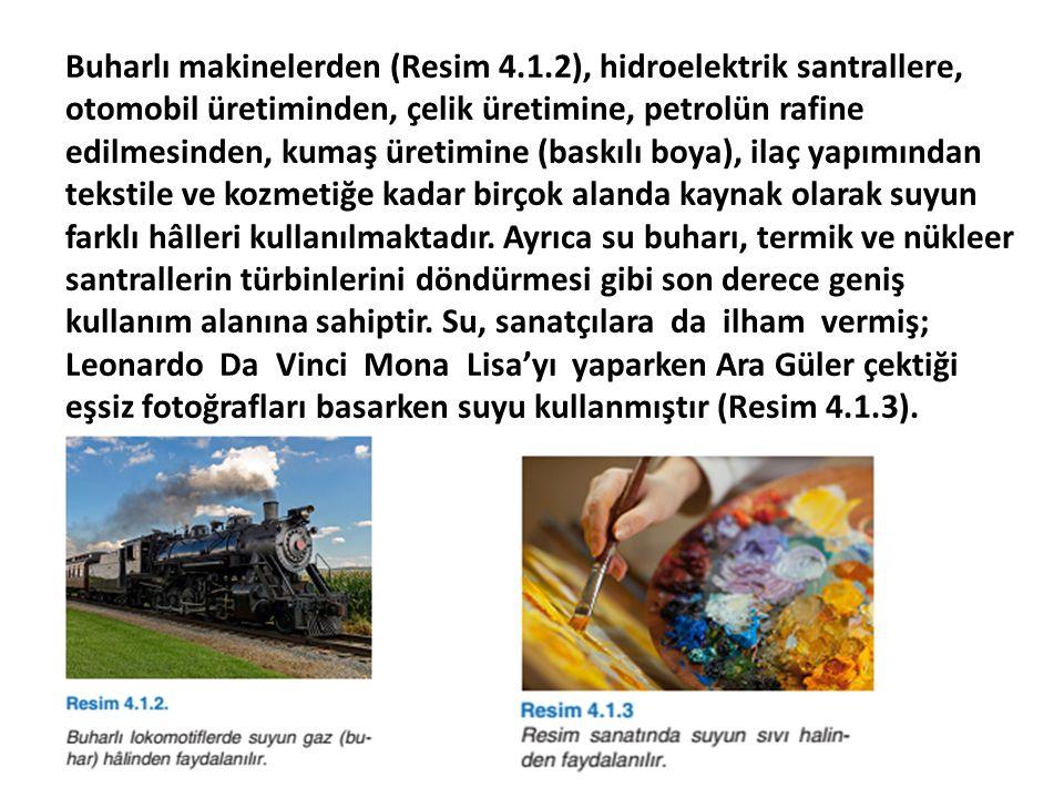 Buharlı makinelerden (Resim 4.1.2), hidroelektrik santrallere, otomobil üretiminden, çelik üretimine, petrolün rafine edilmesinden, kumaş üretimine (b
