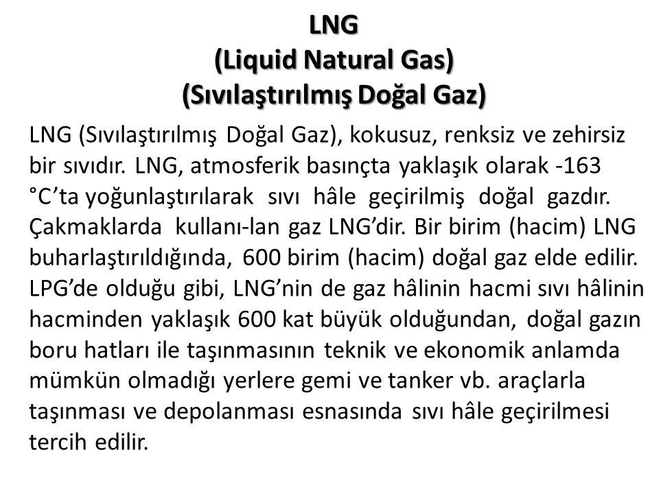 LNG (Sıvılaştırılmış Doğal Gaz), kokusuz, renksiz ve zehirsiz bir sıvıdır. LNG, atmosferik basınçta yaklaşık olarak -163 °C'ta yoğunlaştırılarak sıvı