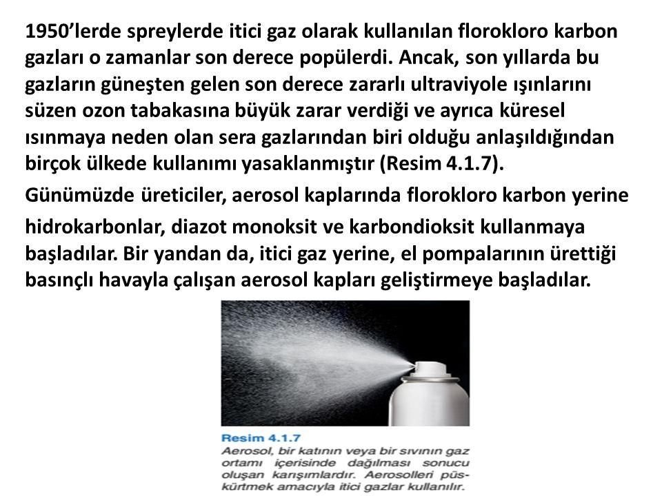 1950'lerde spreylerde itici gaz olarak kullanılan florokloro karbon gazları o zamanlar son derece popülerdi. Ancak, son yıllarda bu gazların güneşten