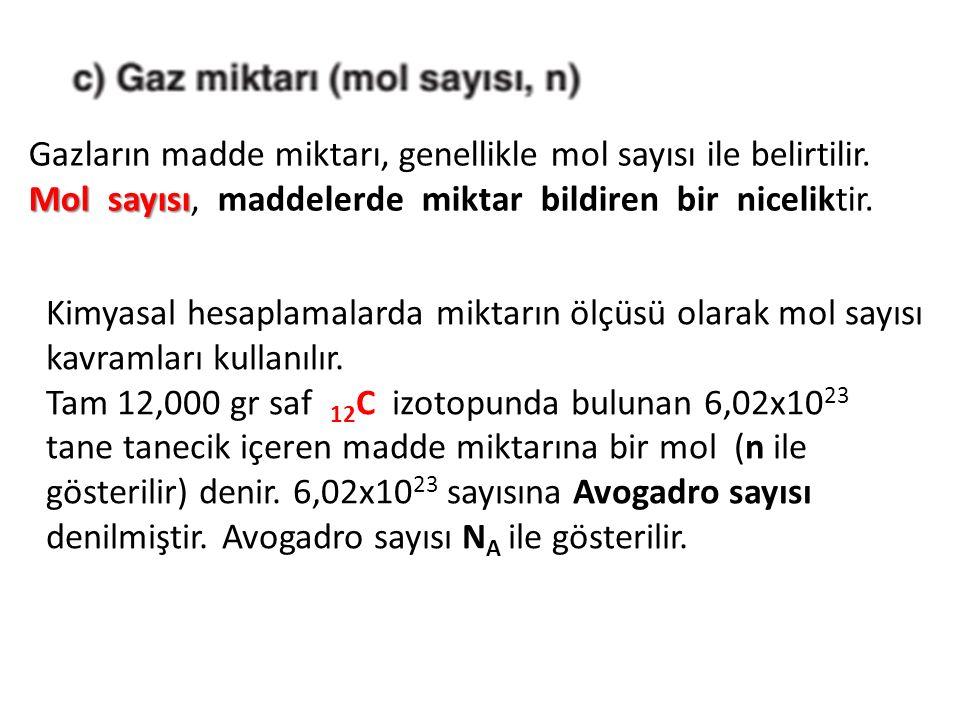 Mol sayısı Gazların madde miktarı, genellikle mol sayısı ile belirtilir. Mol sayısı, maddelerde miktar bildiren bir niceliktir. Kimyasal hesaplamalard