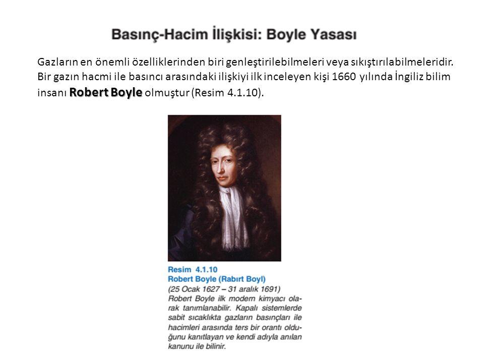 Robert Boyle Gazların en önemli özelliklerinden biri genleştirilebilmeleri veya sıkıştırılabilmeleridir. Bir gazın hacmi ile basıncı arasındaki ilişki