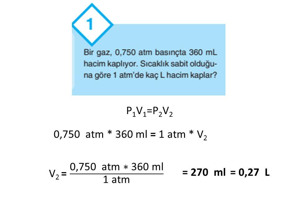 0,750 atm * 360 ml = 1 atm * V 2 = 270 ml= 0,27 L