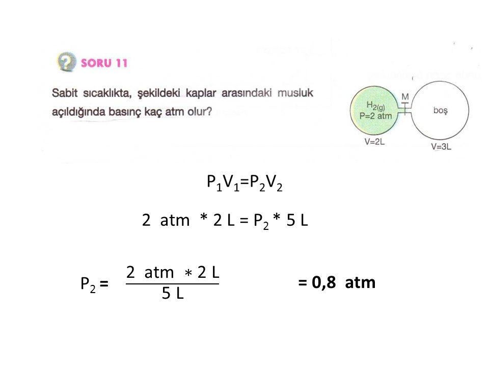 2 atm * 2 L = P 2 * 5 L = 0,8 atm