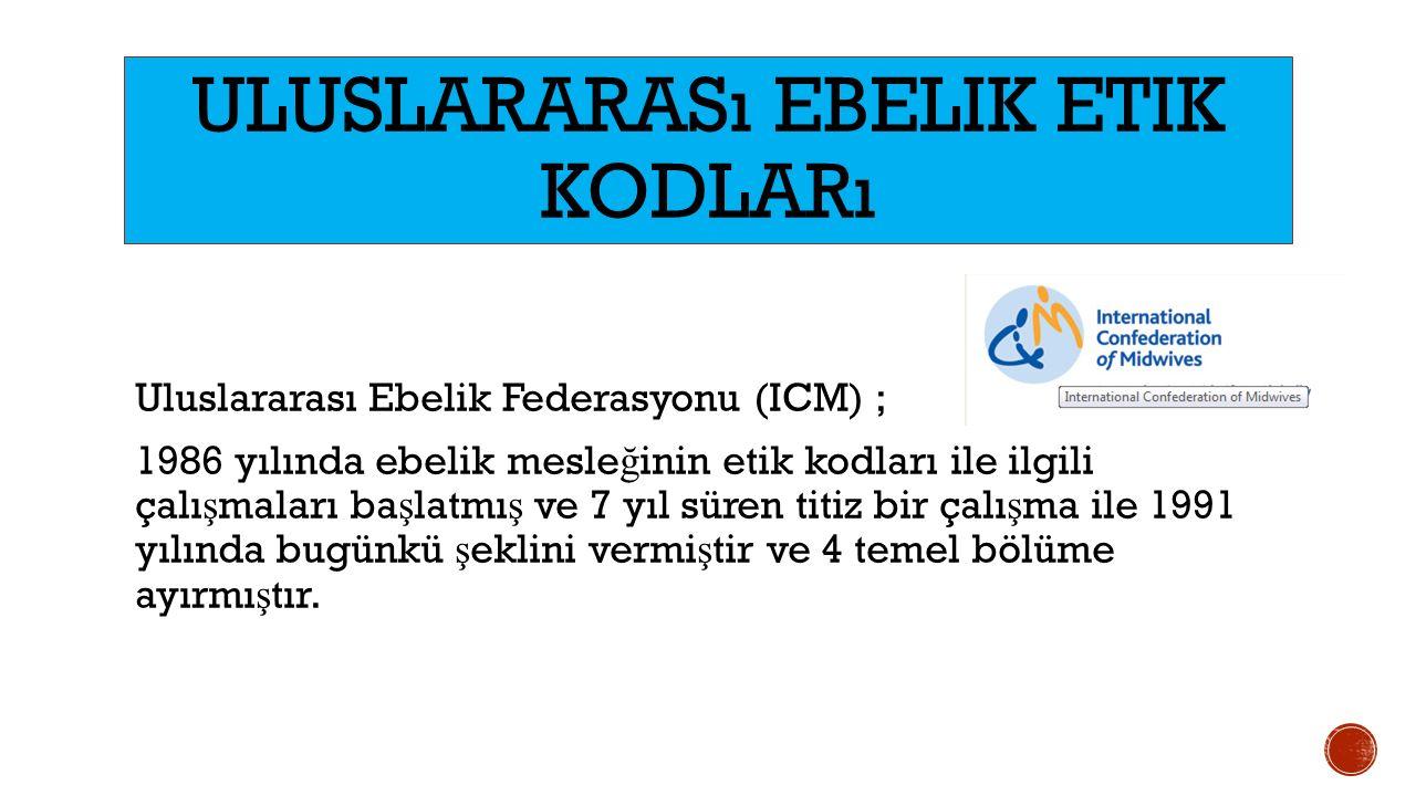 Uluslararası Ebelik Federasyonu (ICM) ; 1986 yılında ebelik mesle ğ inin etik kodları ile ilgili çalı ş maları ba ş latmı ş ve 7 yıl süren titiz bir ç