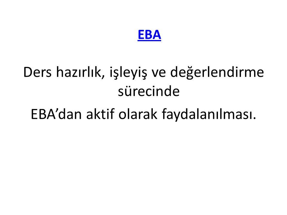 Ders hazırlık, işleyiş ve değerlendirme sürecinde EBA'dan aktif olarak faydalanılması. EBA