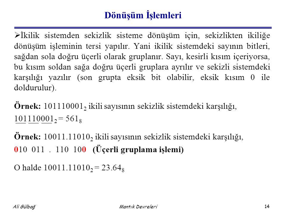14 Ali Gülbağ Dönüşüm İşlemleri  İkilik sistemden sekizlik sisteme dönüşüm için, sekizlikten ikiliğe dönüşüm işleminin tersi yapılır.