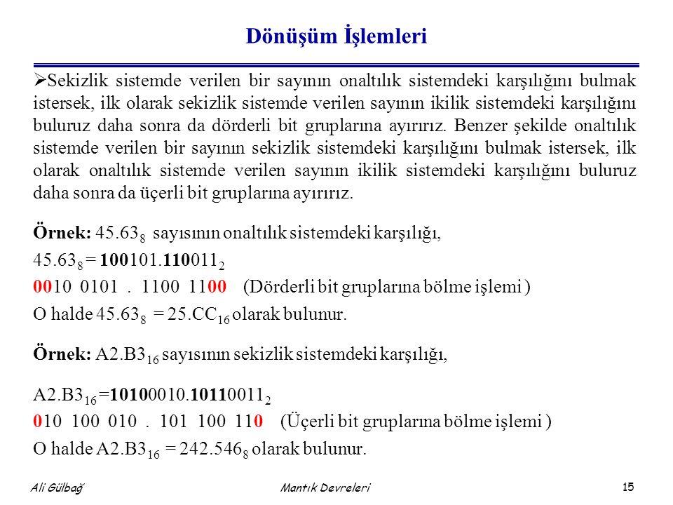 15 Ali Gülbağ Dönüşüm İşlemleri  Sekizlik sistemde verilen bir sayının onaltılık sistemdeki karşılığını bulmak istersek, ilk olarak sekizlik sistemde verilen sayının ikilik sistemdeki karşılığını buluruz daha sonra da dörderli bit gruplarına ayırırız.
