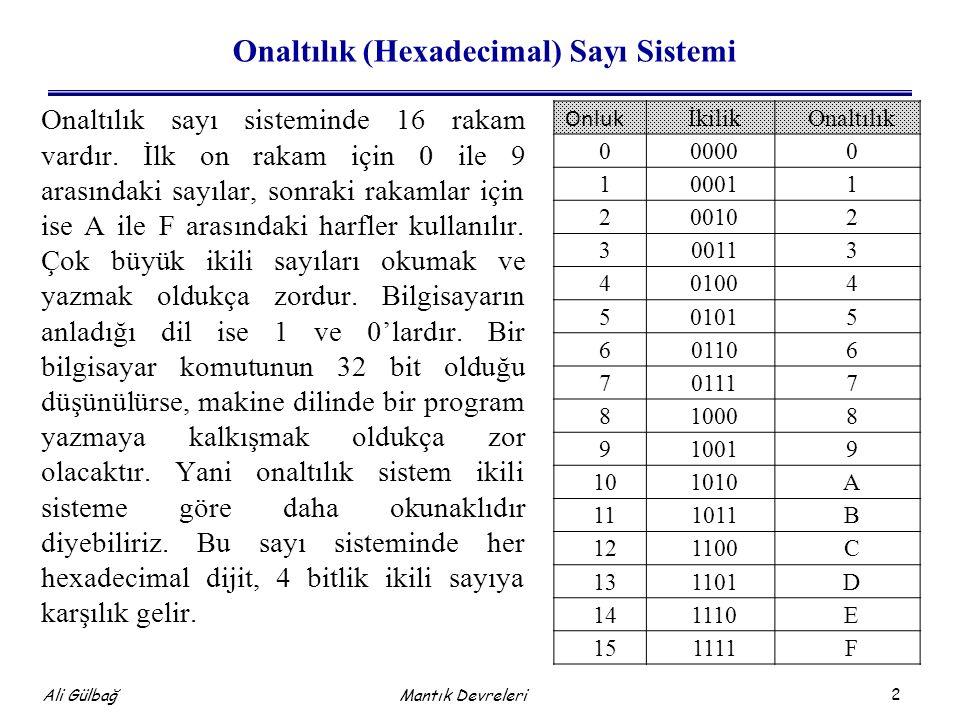2 Ali Gülbağ Mantık Devreleri Onaltılık (Hexadecimal) Sayı Sistemi Onaltılık sayı sisteminde 16 rakam vardır.