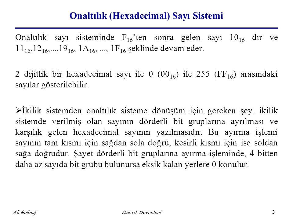 3 Ali Gülbağ Onaltılık (Hexadecimal) Sayı Sistemi Onaltılık sayı sisteminde F 16 'ten sonra gelen sayı 10 16 dır ve 11 16,12 16,...,19 16, 1A 16,..., 1F 16 şeklinde devam eder.
