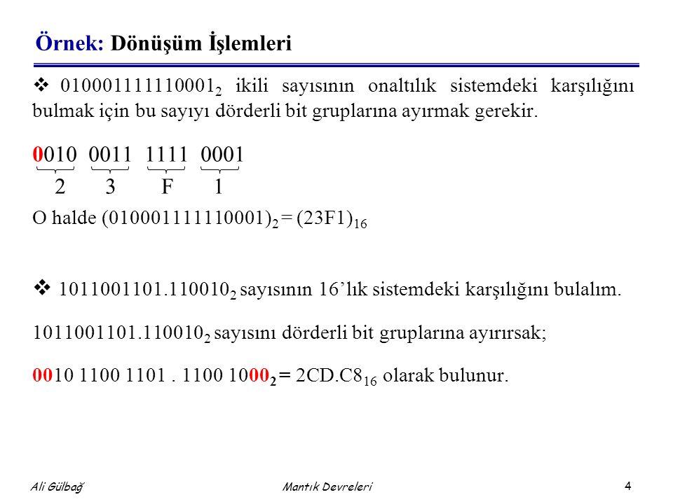 4 Ali Gülbağ Örnek: Dönüşüm İşlemleri  010001111110001 2 ikili sayısının onaltılık sistemdeki karşılığını bulmak için bu sayıyı dörderli bit gruplarına ayırmak gerekir.
