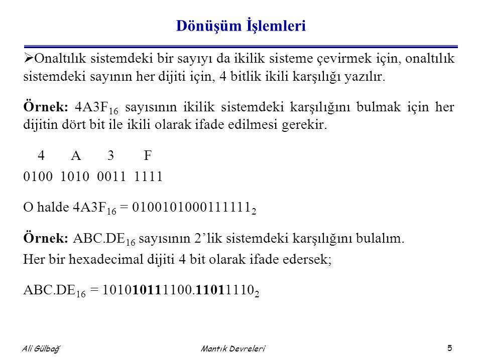 6 Ali Gülbağ Dönüşüm İşlemleri  Onaltılık sistemden onluk sisteme dönüşüm için iki yol düşünülebilir; onluk sistemdeki sayılar önce ikilik sisteme sonra da ikilik sistemden onluk sisteme çevrilir.