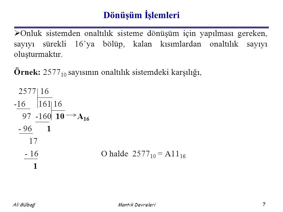 8 Ali Gülbağ Örnek: Örnek: 123.256 sayısının 16'lık sistemdeki karşılığını bulalım.