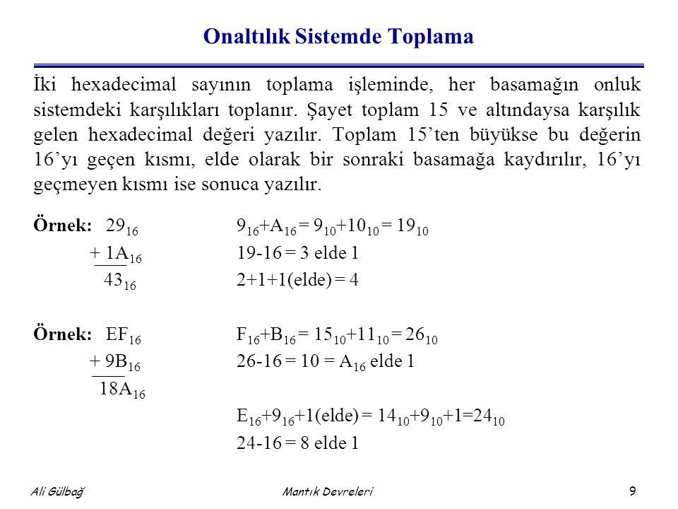 9 Ali Gülbağ Onaltılık Sistemde Toplama İki hexadecimal sayının toplama işleminde, her basamağın onluk sistemdeki karşılıkları toplanır.