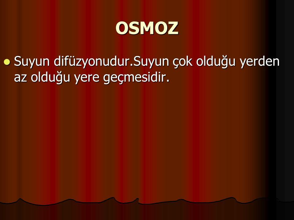 OSMOZ Suyun difüzyonudur.Suyun çok olduğu yerden az olduğu yere geçmesidir. Suyun difüzyonudur.Suyun çok olduğu yerden az olduğu yere geçmesidir.