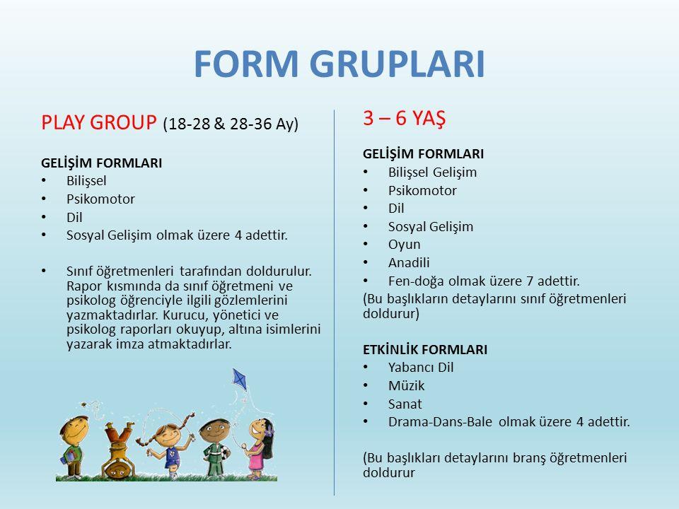 FORM GRUPLARI 3 – 6 YAŞ GELİŞİM FORMLARI Bilişsel Gelişim Psikomotor Dil Sosyal Gelişim Oyun Anadili Fen-doğa olmak üzere 7 adettir. (Bu başlıkların d