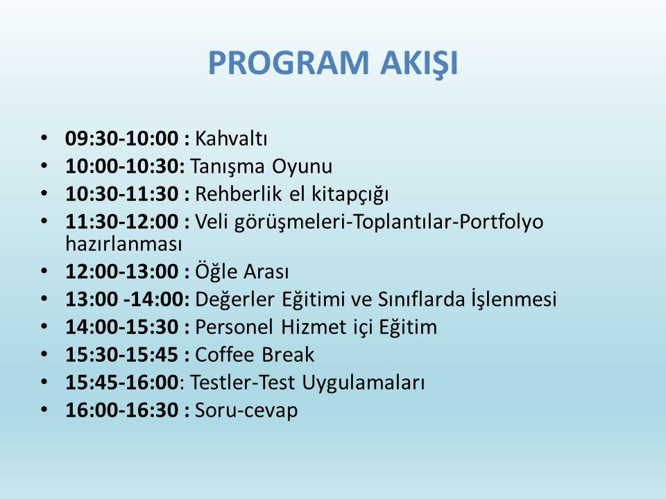 PROGRAM AKIŞI 09:30-10:00 : Kahvaltı 10:00-10:30: Tanışma Oyunu 10:30-11:30 : Rehberlik el kitapçığı 11:30-12:00 : Veli görüşmeleri-Toplantılar-Portfolyo hazırlanması 12:00-13:00 : Öğle Arası 13:00 -14:00: Değerler Eğitimi ve Sınıflarda İşlenmesi 14:00-15:30 : Personel Hizmet içi Eğitim 15:30-15:45 : Coffee Break 15:45-16:00: Testler-Test Uygulamaları 16:00-16:30 : Soru-cevap