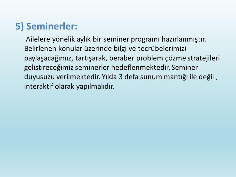 5) Seminerler: Ailelere yönelik aylık bir seminer programı hazırlanmıştır.
