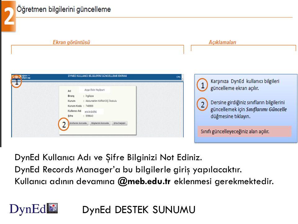 DynEd Kullanıcı Adı ve Şifre Bilginizi Not Ediniz.