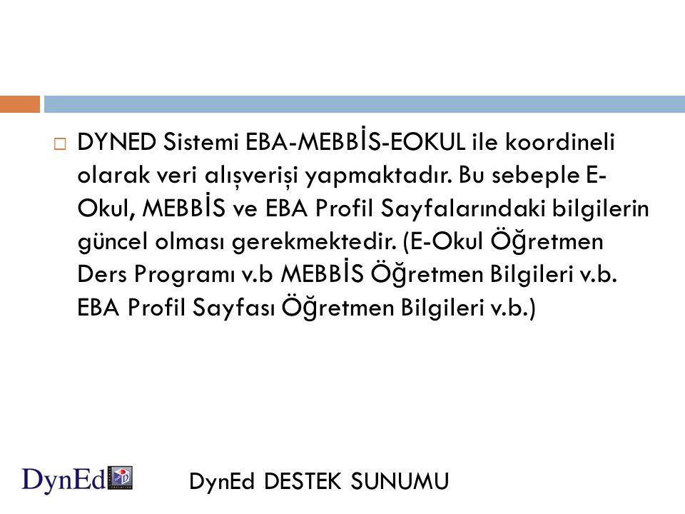  DYNED Sistemi EBA-MEBB İ S-EOKUL ile koordineli olarak veri alışverişi yapmaktadır.