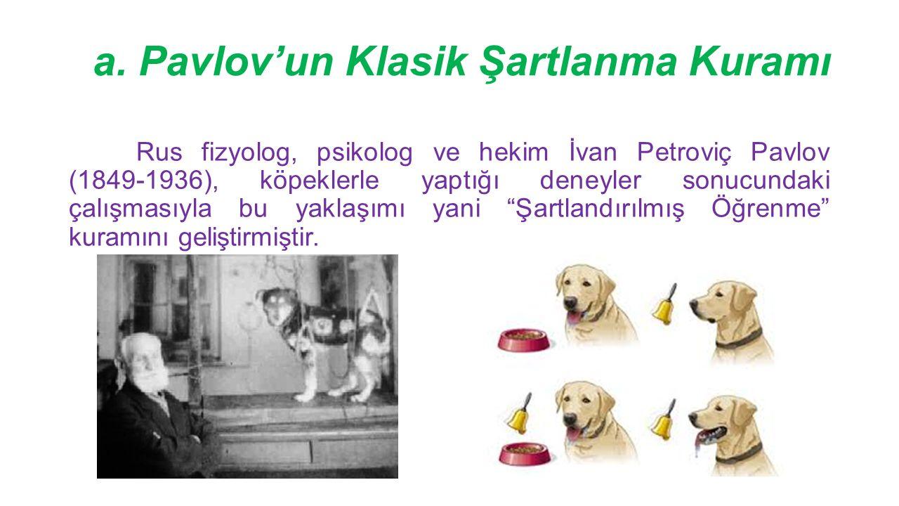 a. Pavlov'un Klasik Şartlanma Kuramı Rus fizyolog, psikolog ve hekim İvan Petroviç Pavlov (1849-1936), köpeklerle yaptığı deneyler sonucundaki çalışma