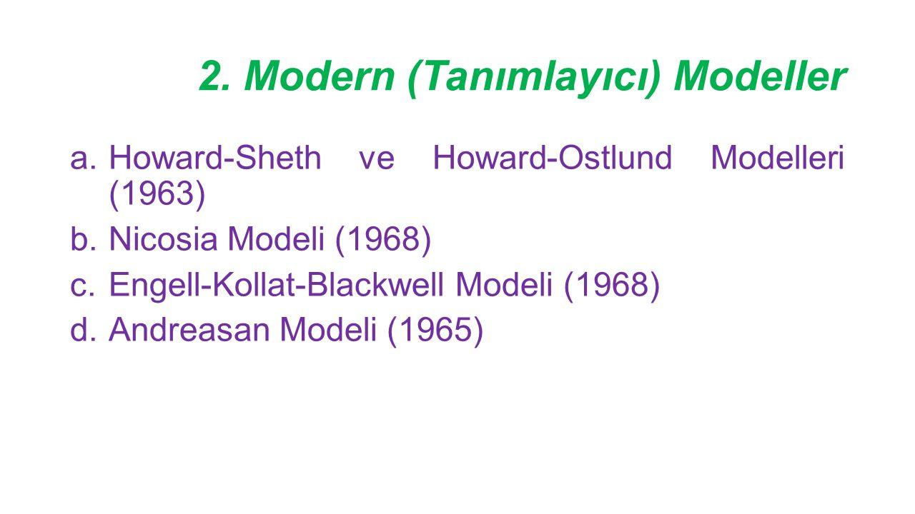 2. Modern (Tanımlayıcı) Modeller a.Howard-Sheth ve Howard-Ostlund Modelleri (1963) b.Nicosia Modeli (1968) c.Engell-Kollat-Blackwell Modeli (1968) d.A
