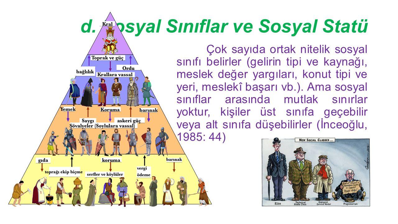 d. Sosyal Sınıflar ve Sosyal Statü Çok sayıda ortak nitelik sosyal sınıfı belirler (gelirin tipi ve kaynağı, meslek değer yargıları, konut tipi ve yer