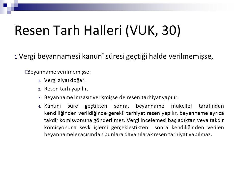 Resen Tarh Halleri (VUK, 30) 1. Vergi beyannamesi kanunî süresi geçtiği halde verilmemişse,  Beyanname verilmemişse; 1. Vergi ziyaı doğar. 2. Resen t