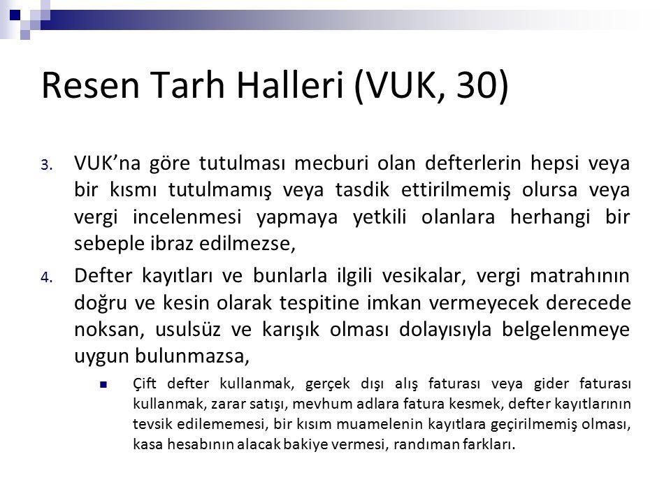 Resen Tarh Halleri (VUK, 30) 3. VUK'na göre tutulması mecburi olan defterlerin hepsi veya bir kısmı tutulmamış veya tasdik ettirilmemiş olursa veya ve