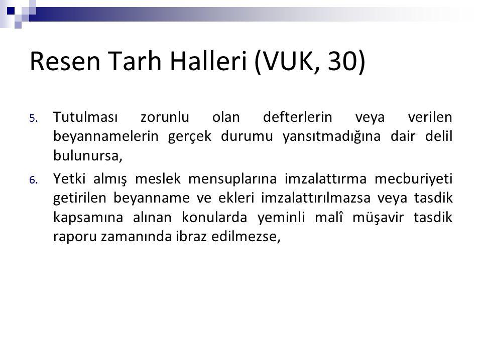 Resen Tarh Halleri (VUK, 30) 5. Tutulması zorunlu olan defterlerin veya verilen beyannamelerin gerçek durumu yansıtmadığına dair delil bulunursa, 6. Y
