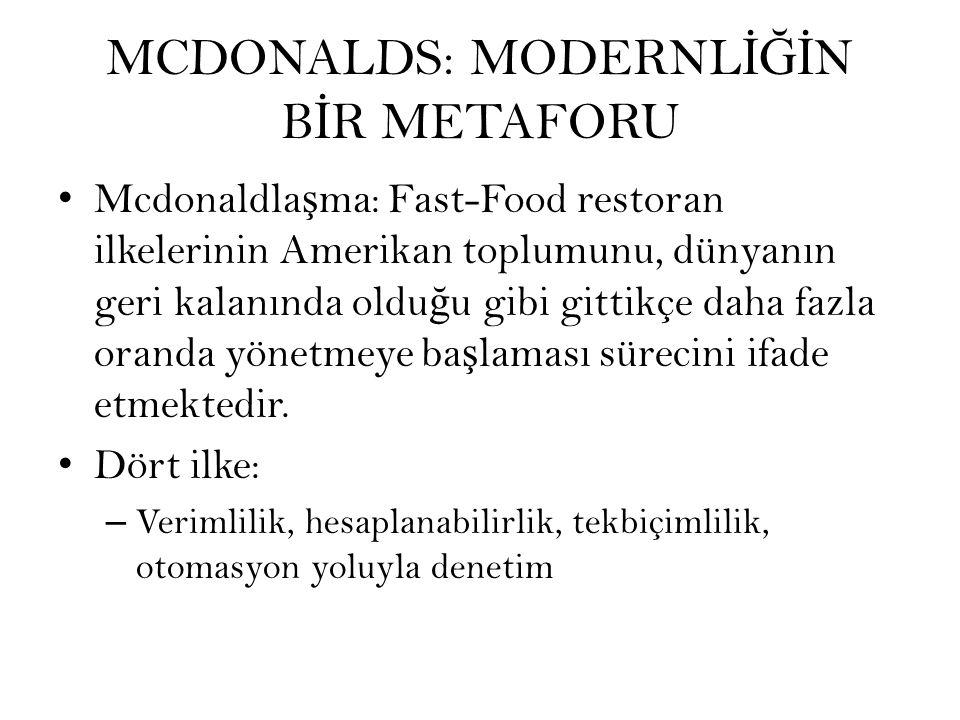 MCDONALDS: MODERNL İĞİ N B İ R METAFORU Mcdonaldla ş ma: Fast-Food restoran ilkelerinin Amerikan toplumunu, dünyanın geri kalanında oldu ğ u gibi gittikçe daha fazla oranda yönetmeye ba ş laması sürecini ifade etmektedir.