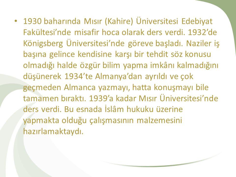 1930 baharında Mısır (Kahire) Üniversitesi Edebiyat Fakültesi'nde misafir hoca olarak ders verdi. 1932'de Königsberg Üniversitesi'nde göreve başladı.