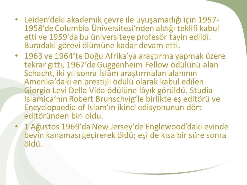 Leiden'deki akademik çevre ile uyuşamadığı için 1957- 1958'de Columbia Üniversitesi'nden aldığı teklifi kabul etti ve 1959'da bu üniversiteye profesör
