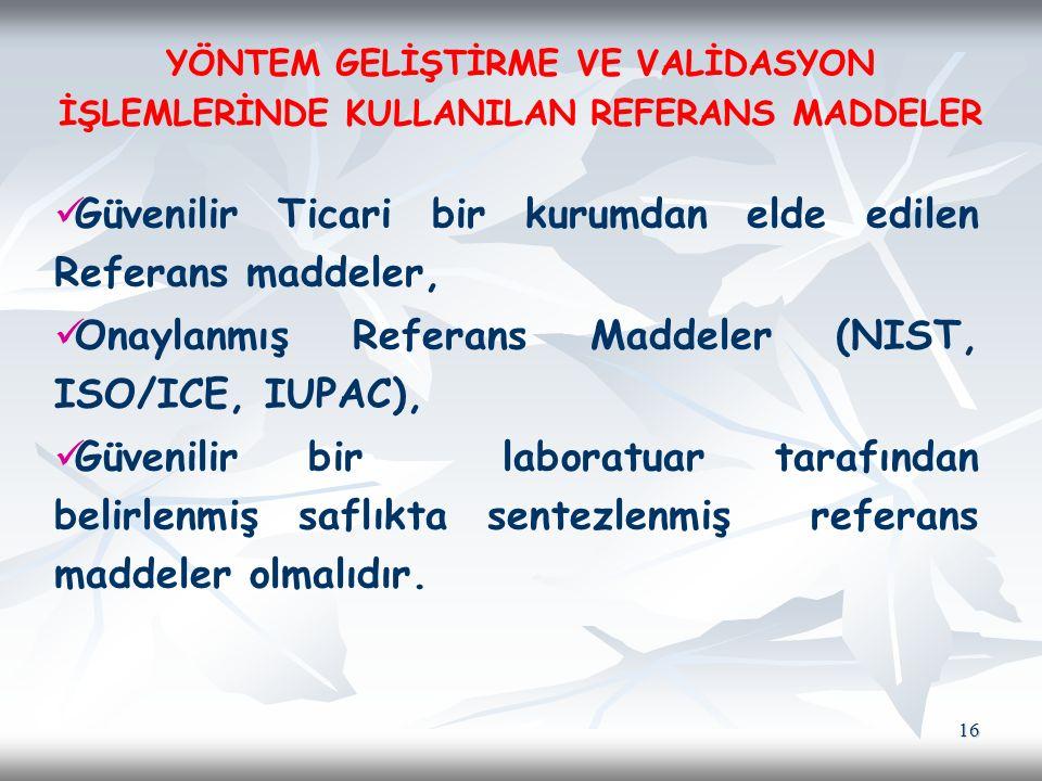 16 Güvenilir Ticari bir kurumdan elde edilen Referans maddeler, Onaylanmış Referans Maddeler (NIST, ISO/ICE, IUPAC), Güvenilir bir laboratuar tarafınd