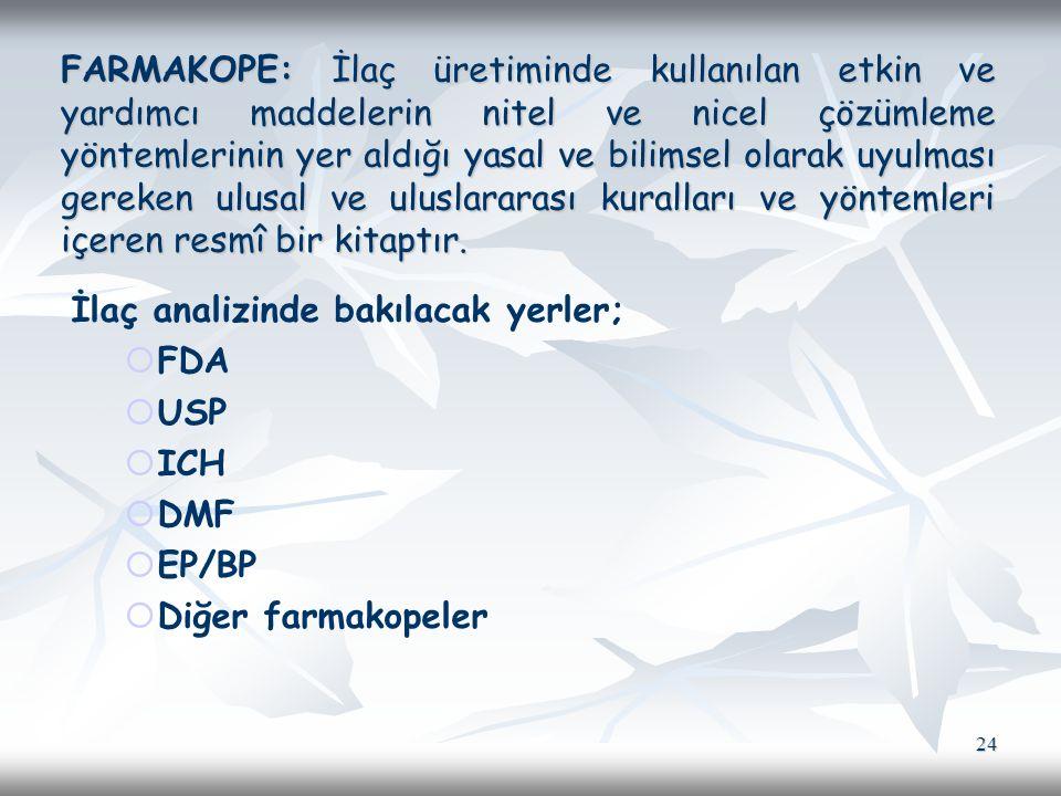 FARMAKOPE: İlaç üretiminde kullanılan etkin ve yardımcı maddelerin nitel ve nicel çözümleme yöntemlerinin yer aldığı yasal ve bilimsel olarak uyulması