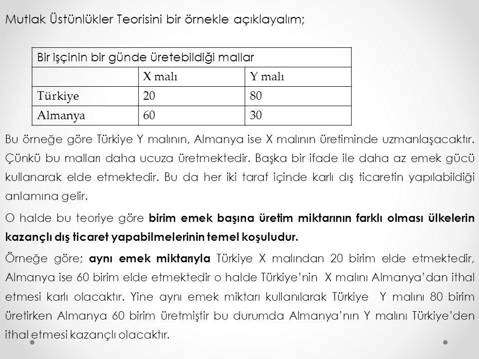 Mutlak Üstünlükler Teorisini bir örnekle açıklayalım; Bu örneğe göre Türkiye Y malının, Almanya ise X malının üretiminde uzmanlaşacaktır. Çünkü bu mal