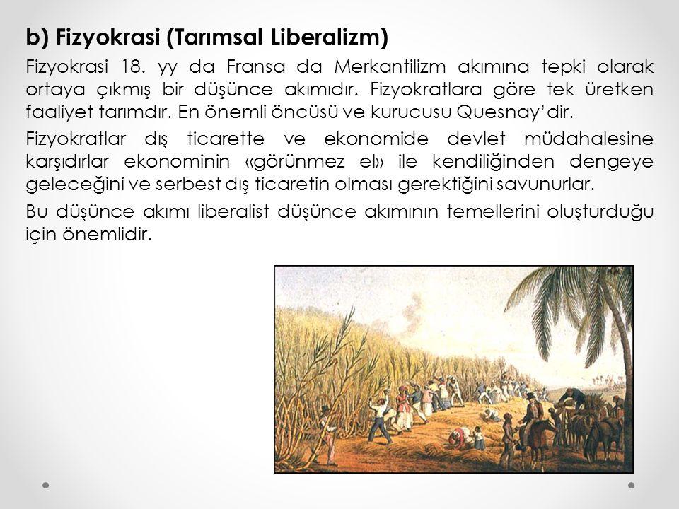 b) Fizyokrasi (Tarımsal Liberalizm) Fizyokrasi 18. yy da Fransa da Merkantilizm akımına tepki olarak ortaya çıkmış bir düşünce akımıdır. Fizyokratlara