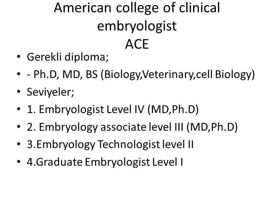 American college of clinical embryologist ACE Gerekli diploma; - Ph.D, MD, BS (Biology,Veterinary,cell Biology) Seviyeler; 1. Embryologist Level IV (M