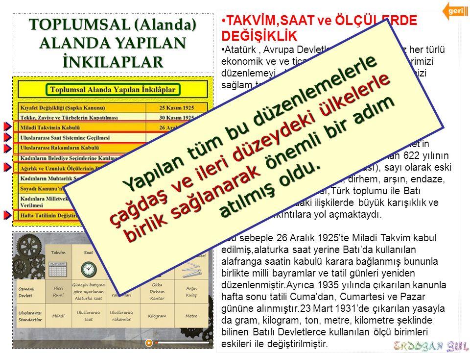 TOPLUMSAL (Alanda) ALANDA YAPILAN İNKILAPLAR TAKVİM,SAAT ve ÖLÇÜLERDE DEĞİŞİKLİK Atatürk, Avrupa Devletleri ile kuracağımız her türlü ekonomik ve ve t