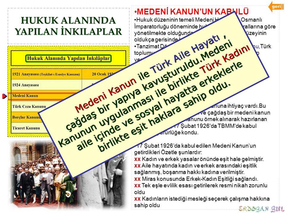 HUKUK ALANINDA YAPILAN İNKILAPLAR MEDENİ KANUN'UN KABULÜ Hukuk düzeninin temeli Medeni Hukuk'tur. Osmanlı İmparatorluğu döneminde hukuk işleri din kur