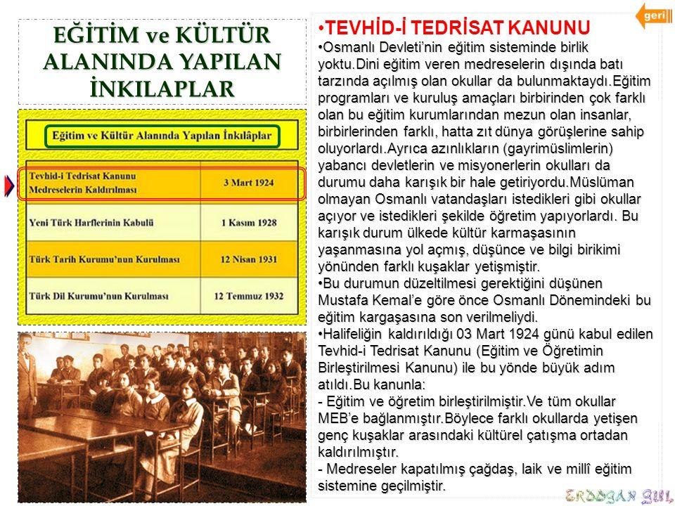 EĞİTİM ve KÜLTÜR ALANINDA YAPILAN İNKILAPLAR TEVHİD-İ TEDRİSAT KANUNU Osmanlı Devleti'nin eğitim sisteminde birlik yoktu.Dini eğitim veren medreseleri