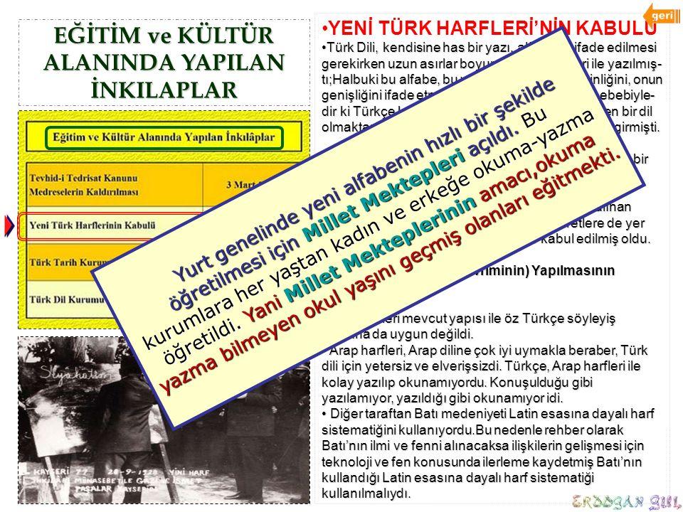 EĞİTİM ve KÜLTÜR ALANINDA YAPILAN İNKILAPLAR YENİ TÜRK HARFLERİ'NİN KABULÜ Türk Dili, kendisine has bir yazı, alfabe ile ifade edilmesi gerekirken uzu