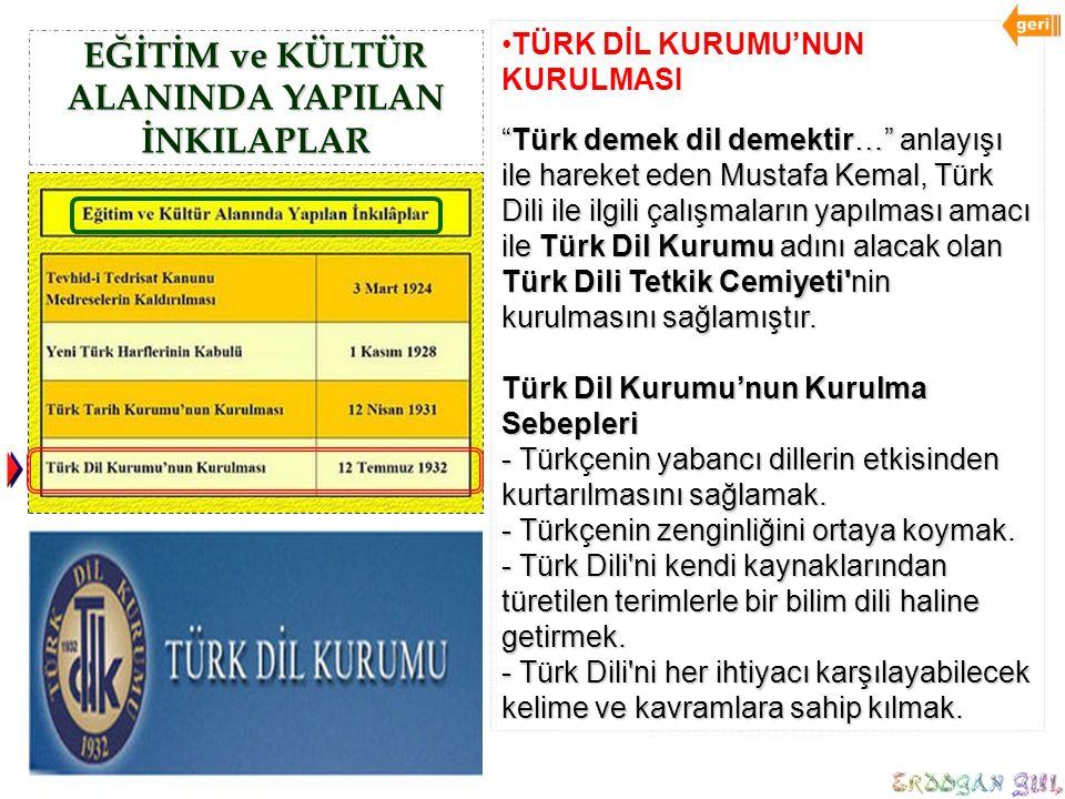 """EĞİTİM ve KÜLTÜR ALANINDA YAPILAN İNKILAPLAR TÜRK DİL KURUMU'NUN KURULMASI """"Türk demek dil demektir…"""" anlayışı ile hareket eden Mustafa Kemal, Türk Di"""